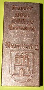 """Kupfer Barren 1kg mit Motiv """"Hamburg"""" -matt/schattiert I/II"""