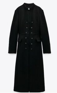 ZARA LIMITED EDITION BLACK WOOL BLEND LONG HIGH NECK COAT SIZE XS BNWT RRP £130