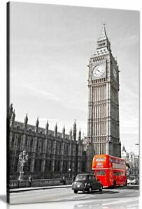 Big Ben London Bus Black White Red Home Canvas Wall Art Picture Print