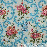 BonEful Fabric FQ Cotton Quilt Cream Blue Pink Shabby Chic Victorian Rose Flower