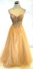 NWT MASQUERADE $190 Gold Party Formal Evening Gown 5