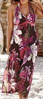 Kleid Gr. 36 Neckholder Damen Sommerkleid lang braun/rosa geblümt