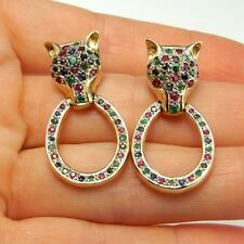 14K Gold FOX Earrings Drop Ruby Emerald Sapphire 1970s Tutti Frutti Confetti 585