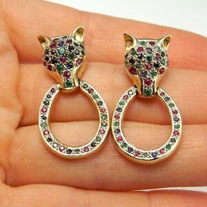 14K Gold FOX Earrings Drop Ruby Emerald Sapphire 1970s Tutti Frutti Confetti 585
