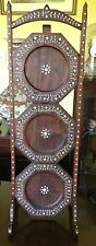 """31"""" Tall Antique Indian Rose Wood & Bone Inlayed 3 Tier Cake Stand"""