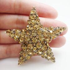 Art Nouveau Vintage Style Starfish Brown Rhinestone Crystal Pendant Brooch Pin