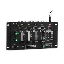 Mesa de mezclas de 4 canales DJ Mezclador Bluetooth USB MP3 2 Micrófonos Negro