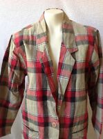 FASHION OPTIONS WOMENS RED Tan PLAID BUTTON DOWN CASUAL BLAZER JACKET SIZE L