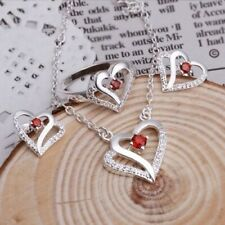 New 925 Sterling Silver Filled Solid Fashion Heart Necklace/Earrings/Ring Set