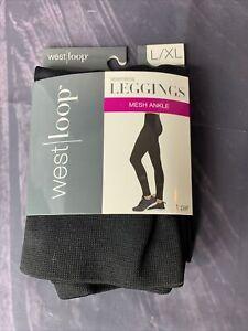 West Loop Large X-Large Black Mesh Ankle Ladies Leggings