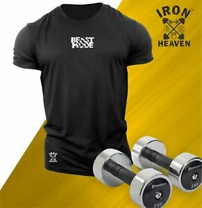 Beast Mode T Shirt Small Gym Clothing Bodybuilding Training Workout MMA Men Top