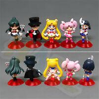 5pcs/set Anime Sailor Moon Kino Makoto Sailor Saturn Chibiusa Figure Model Toy