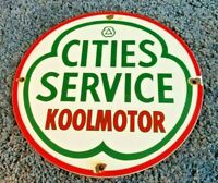 VINTAGE CITIES SERVICE GASOLINE PORCELAIN GAS KOOLMOTOR STATION PUMP SIGN