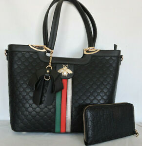"""Black """"Queen Bee"""" Tote Bag and Wallet Set Crossbody Strap Vegan Leather"""