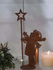 Edelrost Junge Benjamin auf Platte Weihnachten Topfstecker Dekoration Stern Figu