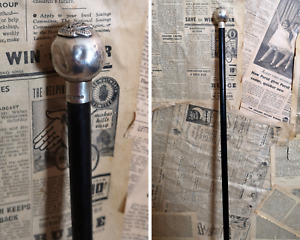 Vintage Art Deco Silver and ebony walking cane, swagger stick, military