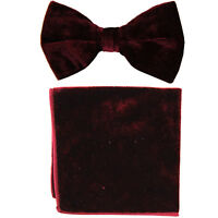 New formal men's pre tied Bow tie & Pocket Square Hankie Velvet Burgundy wedding
