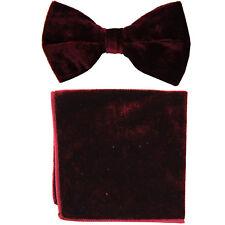 New in box Vesuvio Napoli men's pre tied Bow tie & Pocket Square Velvet Burgundy