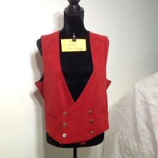 Vintage Red Faux Velvet Double Breasted Vest Size Large