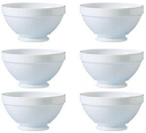 6 Müslischalen / Suppentassen a. Fuß Restaurant Uni Weiß Opalglas