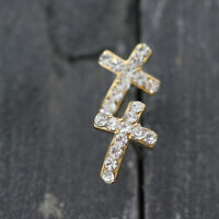 18K Gold Plated Little Crystal Cross Stud Earrings Piercing Studs Fashion Gift
