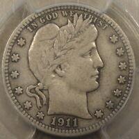 1911-D Barber Quarter 25c PCGS Certified VF25