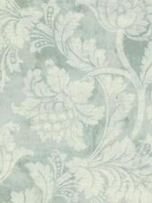 Wallpaper Designer Cream Floral Scroll on Light Green Faux