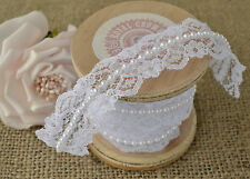 20mm X 10m Lace With Pearl Decoration Ribbon Roll Wedding Trim White