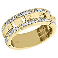 10K Yellow Gold Round Diamond Mens Wedding Band Screw Link Design Ring 0.65 CT.