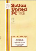 Sutton United v Walthamstow Avenue 1980/1 (22 Nov) Isthmian League