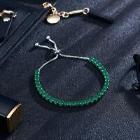 Women Adjustable Cubic Zircon Tennis Bracelet Bangles Copper Chain Jewelry Gift