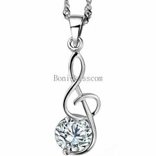 Silver Tone Treble Clef Music Note CZ Accent Pendant Necklace w Chain