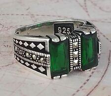 375e6a3fc206 Otomano Verde Emerald Piedra preciosa Marcasite 925 Sterling Silver Ring