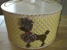 Vintage Mcm 1950's Princess Wicker Poodle Basket Sewing Box Yellow Nos Tags