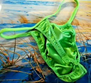 Mens Shiny Thong Satin underwear sexy handmade s m l or xl custom green USA