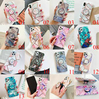 For iPhone 11 Pro Max XS XR 6 7 8 Plus Laser Marble Stand Holder TPU Case Cover