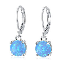 Hot Sell Blue Fire Opal Silver for Women Jewelry Gemstone Drop Earrings OH3018