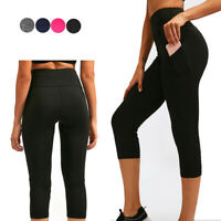 Women's High Waist Yoga 3/4 Cropped Leggings with 2 Pockets Tummy Control Pants