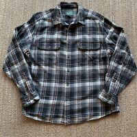 Woolrich Mens L Thick Black Plaid Flannel Button Front Shirt Long Sleeve