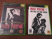 Max Payne The Fall Of Max Payne 1 & 2  Original Xbox Action Game Pain Tested Lot