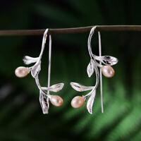 Pink Freshwater Pearl Waterdrop Leaf Earrings Solid 925 Sterling Silver Women