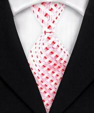 Classic Striped Mens Ties Jacquard Woven Silk Necktie Red Pink White DM284