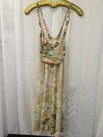 Roberto Cavalli Women's Dress Multi Beige Floral Print Gold Chain Size 6 NWOT