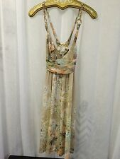 Roberto Cavalli Class Multi Beige Floral Print Gold Chain Dress Sz 40 /US 6 NWOT