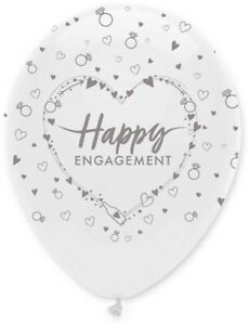 Happy Engagement Congratulations Silver White Balloons Party Decorations x 6
