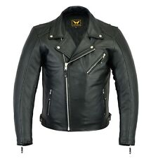 New Mens Black Genuine Cowhide Leather Motorcycle Jacket Coat Biker ZipOut Liner
