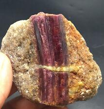 248g red Tourmaline Rubellite Crystals on Quartz Matrix from Brazil j3101