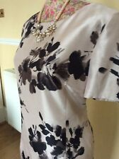Jacques Vert Champagne Nude Shantung Wiggle Dress Size 16 Dry Cleaned