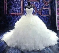 STOCK New Sweetheart White/Ivory Organza Wedding Dresses Size 6 8 10 12 14 16 18