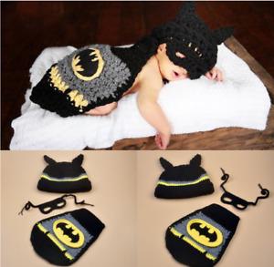 Newborn Baby Girl Boy Crochet Knit Batman Hero Costume Photo Photography Prop